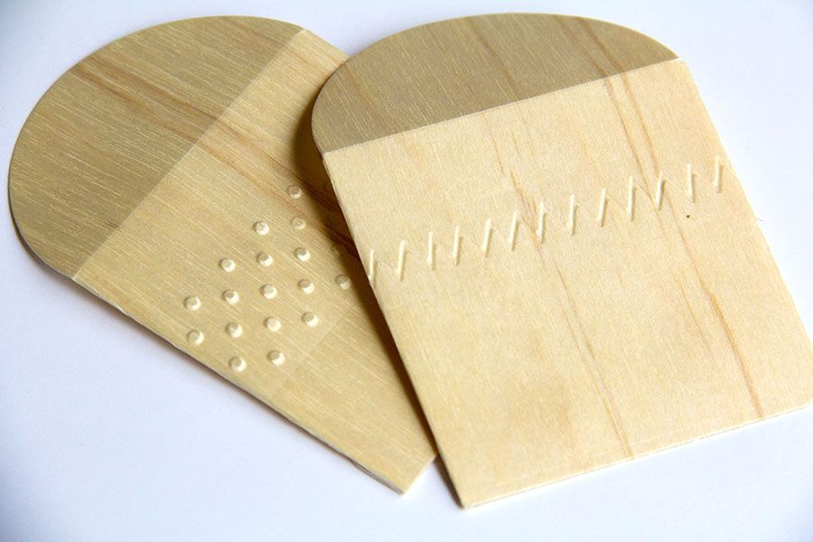 ARC Crafts May 18 blog post - tiny 3x3 BARC Birch wood envelopes with embossed patterns.