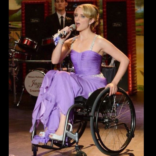 Wheelchair Glee Wedding Chair Covers Resale Dianna Agron As Quinn Fabray On Prom Season 3 Singing In A