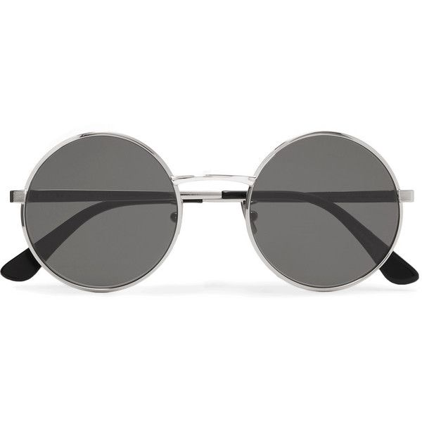 47dc8fd4feb Saint Laurent Round-frame silver-tone sunglasses ($325) ❤ liked on Polyvore  featuring accessories, eyewear, sunglasses, glasses, yves saint laurent, ...