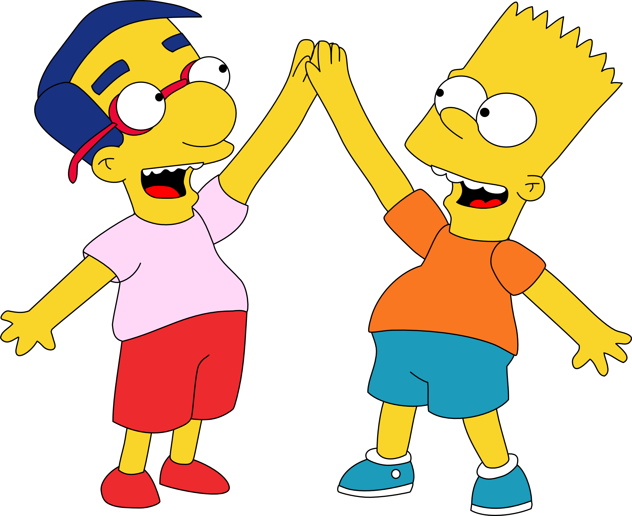 Cartoon 5 Characters : Bart and milhouse hi five by mighty viantart on