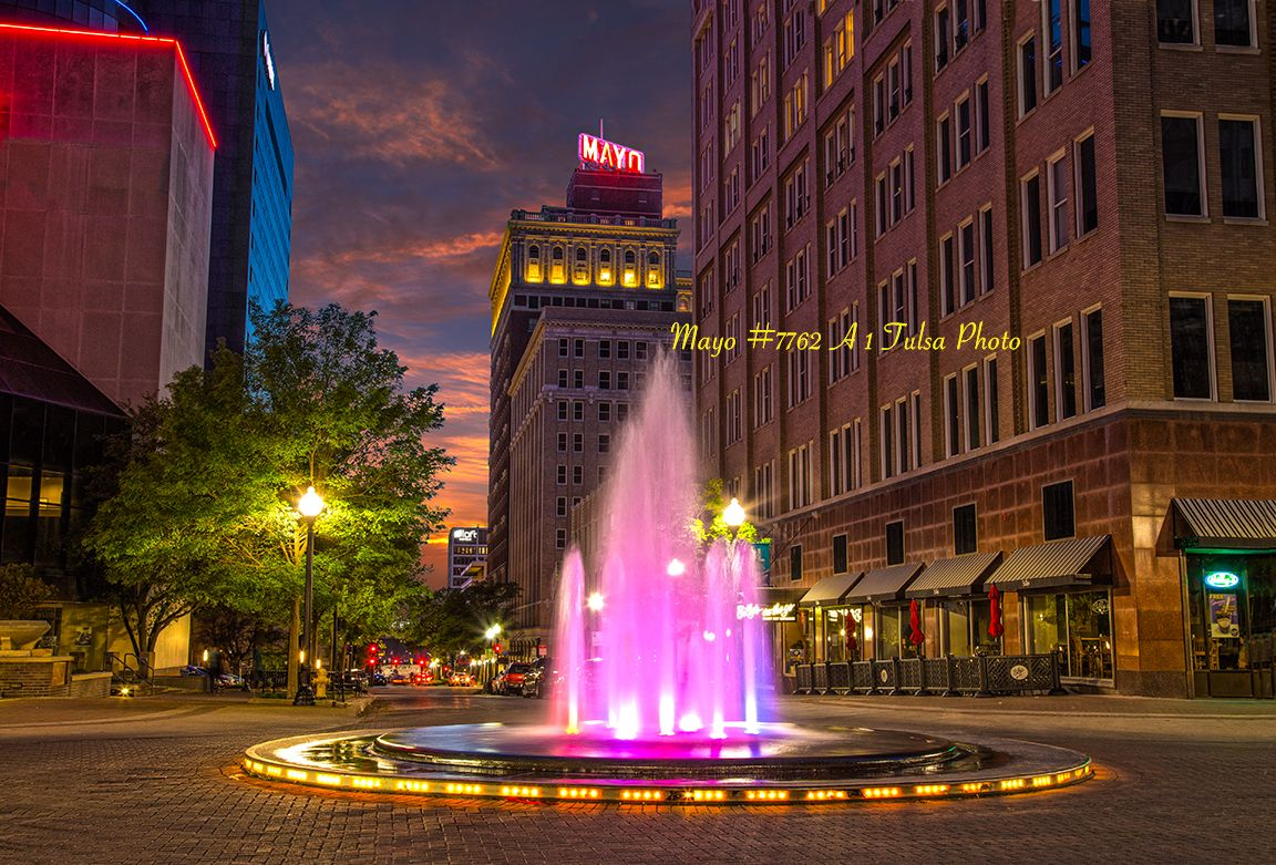 A Beautiful Fountain In Downtown Tulsa Tulsa Pictures Downtown