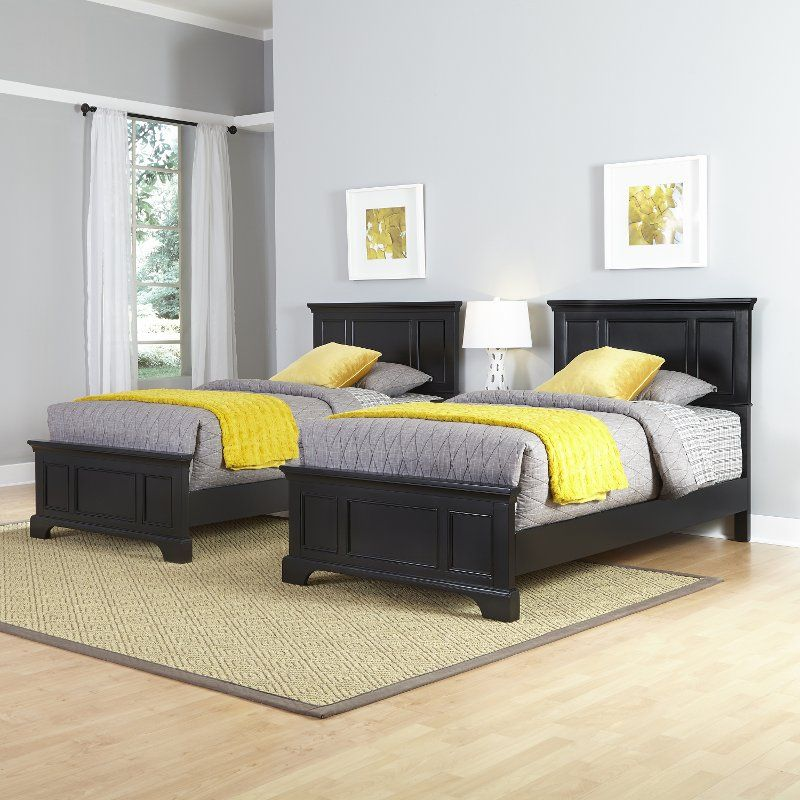 Black Two Twin Beds and Nightstand - Bedford | Kids bedroom ...