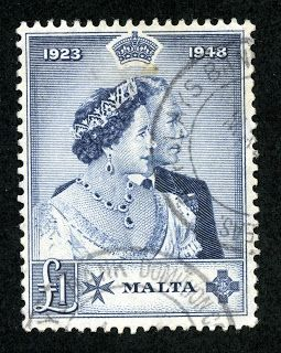 "Malta  1949 Scott 224 £1 dark blue ""Silver Wedding Issue"""