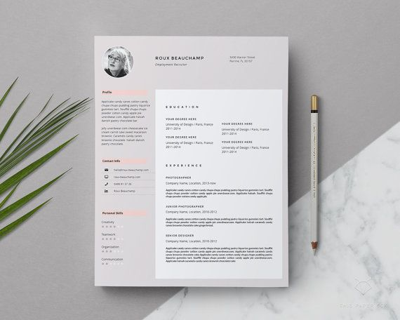 Stylish Resume With Photo Creative Resume Template Word Etsy Resume Template Cover Letter For Resume Resume Design Free