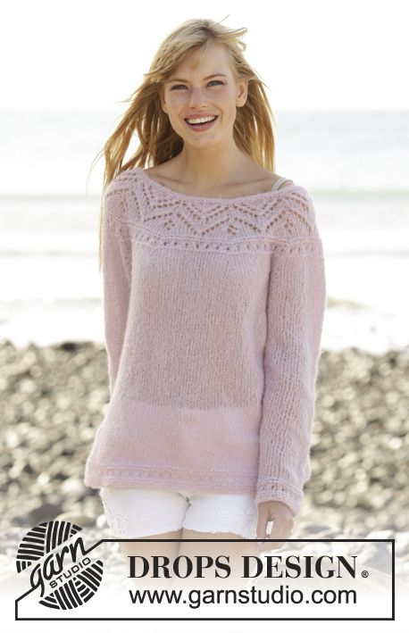 """96d8e7d7 Knitted DROPS jumper with lace pattern, round yoke and vent in the side  """"Brushed"""