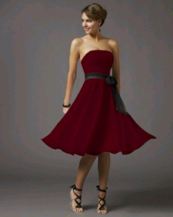 Dark Red Bridesmaid Dress With Chocolate Brown Sash