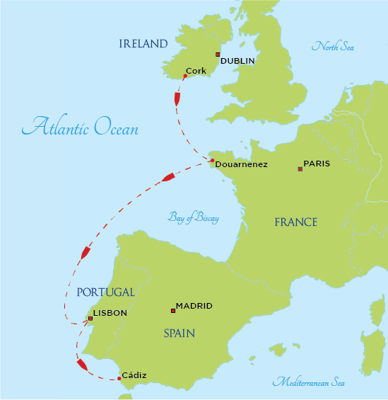 SEA Semester | Voyage Map- Historic Seaports of Western Europe ...