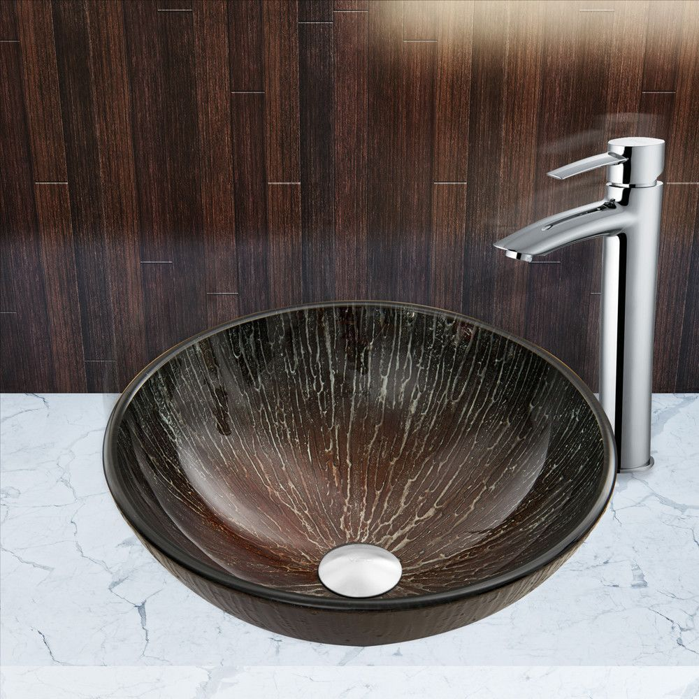 Enchanted Earth Glass Vessel Sink and Shadow Faucet Set