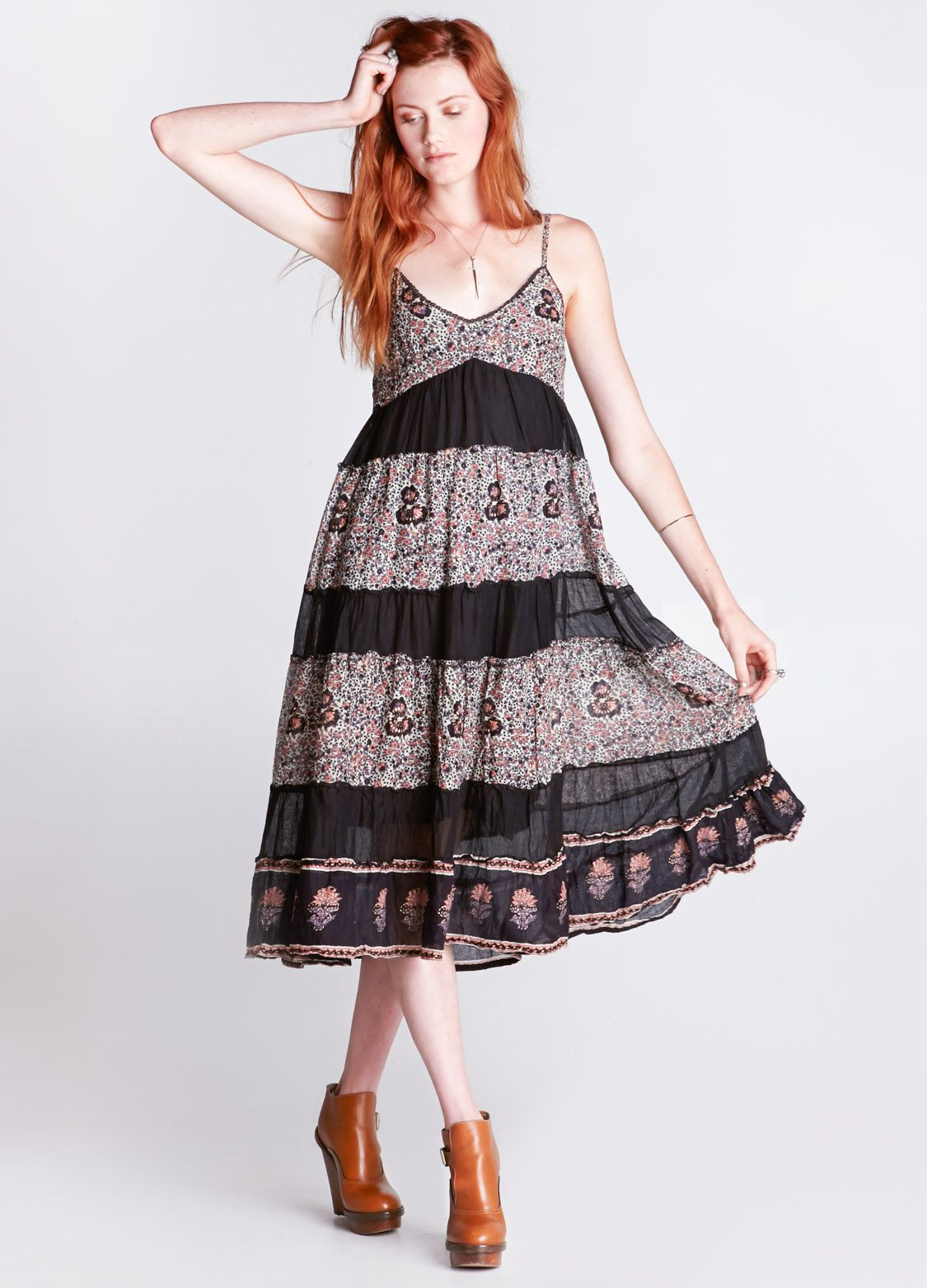 Floral and black striped bohostyle midi dress featuring lace trim