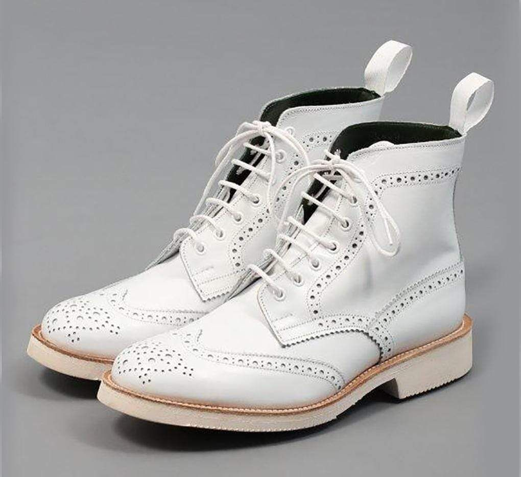 White Handmade Wing Tip Brogue Boot Lace Up Ankle Boots Brogue Boots Handmade Shoes Men
