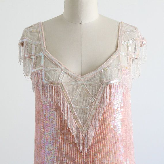 Gatsby Dress Flapper 1920s Art Deco Pink Sequined by salvagelife