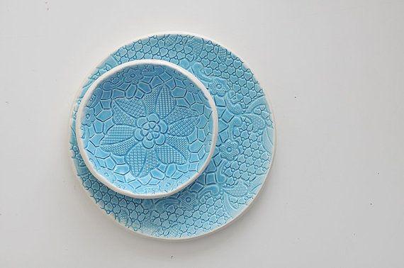 piattino ceramica turchese blu del pizzo per i di ignataceramics