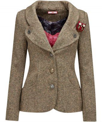 Joe Brown's lovely tweed coat. I would change the buttons and lose the owl--I have a lovely amber tree that would like to live there instead. :)