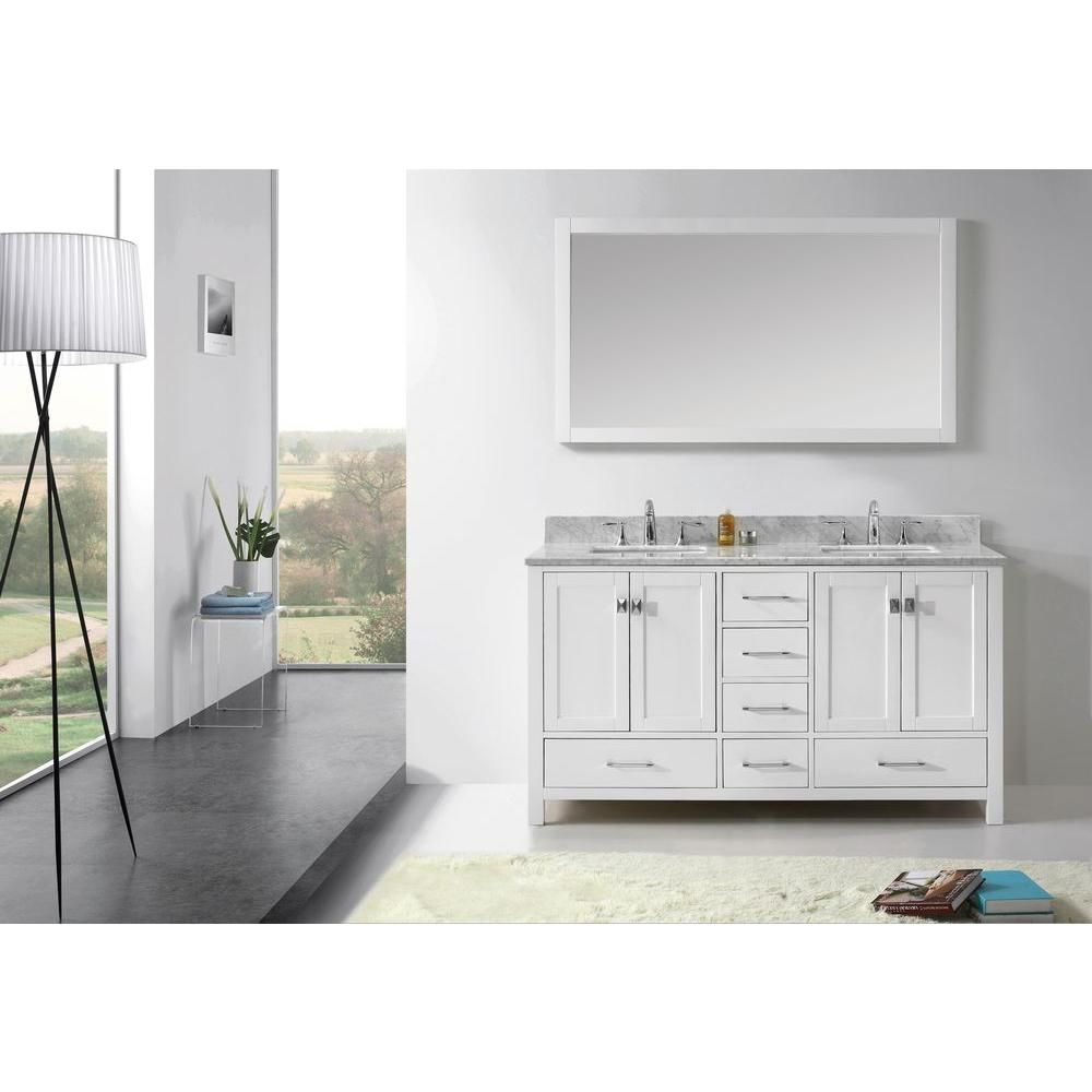 Virtu Usa Caroline Avenue 60 In Vanity Cabinet Only In White Gd 50060 Cab Wh The Home Depot White Marble Bathrooms Oak Bathroom Vanity Bathroom Vanity