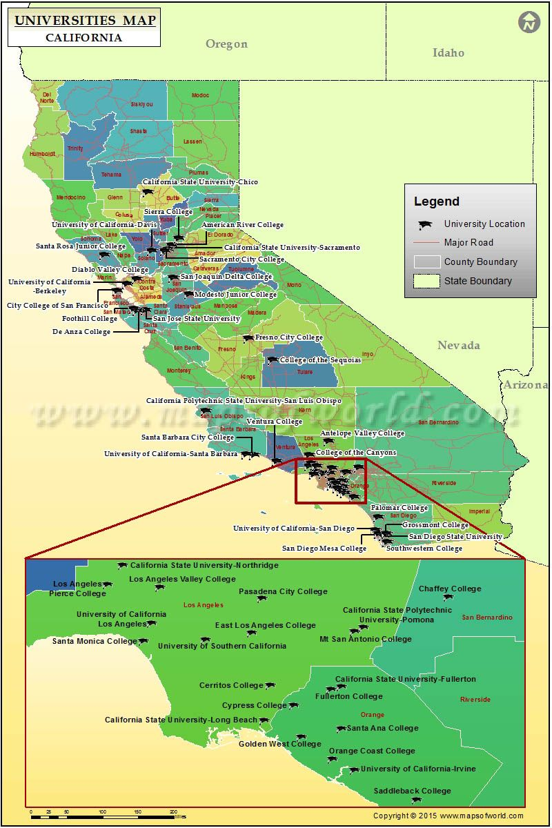 Universities Map Of California Usa California Map Santa Barbara College Map