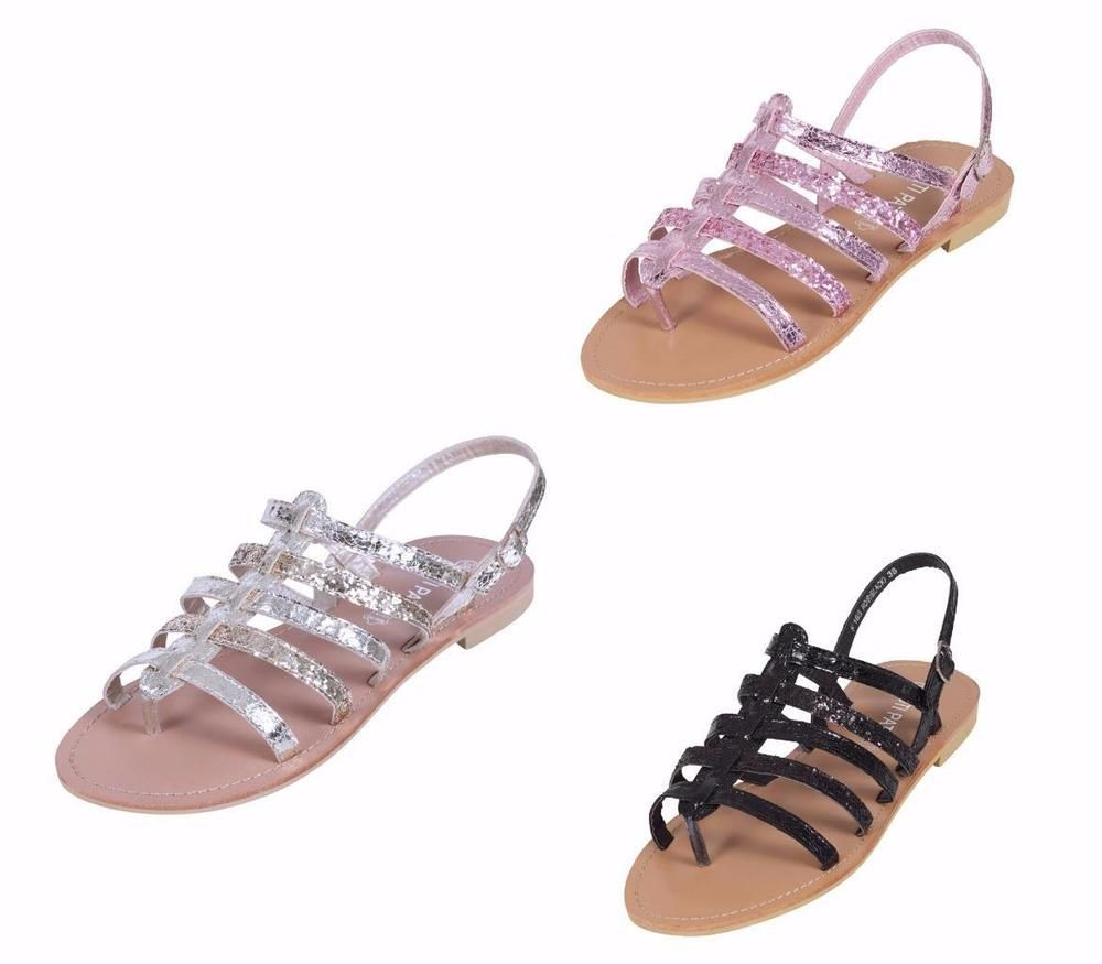 accb11a166b48a Ladies Gladiator Sandals Girls Womens Flat Strappy Fancy Summer Beach Shoes  Size