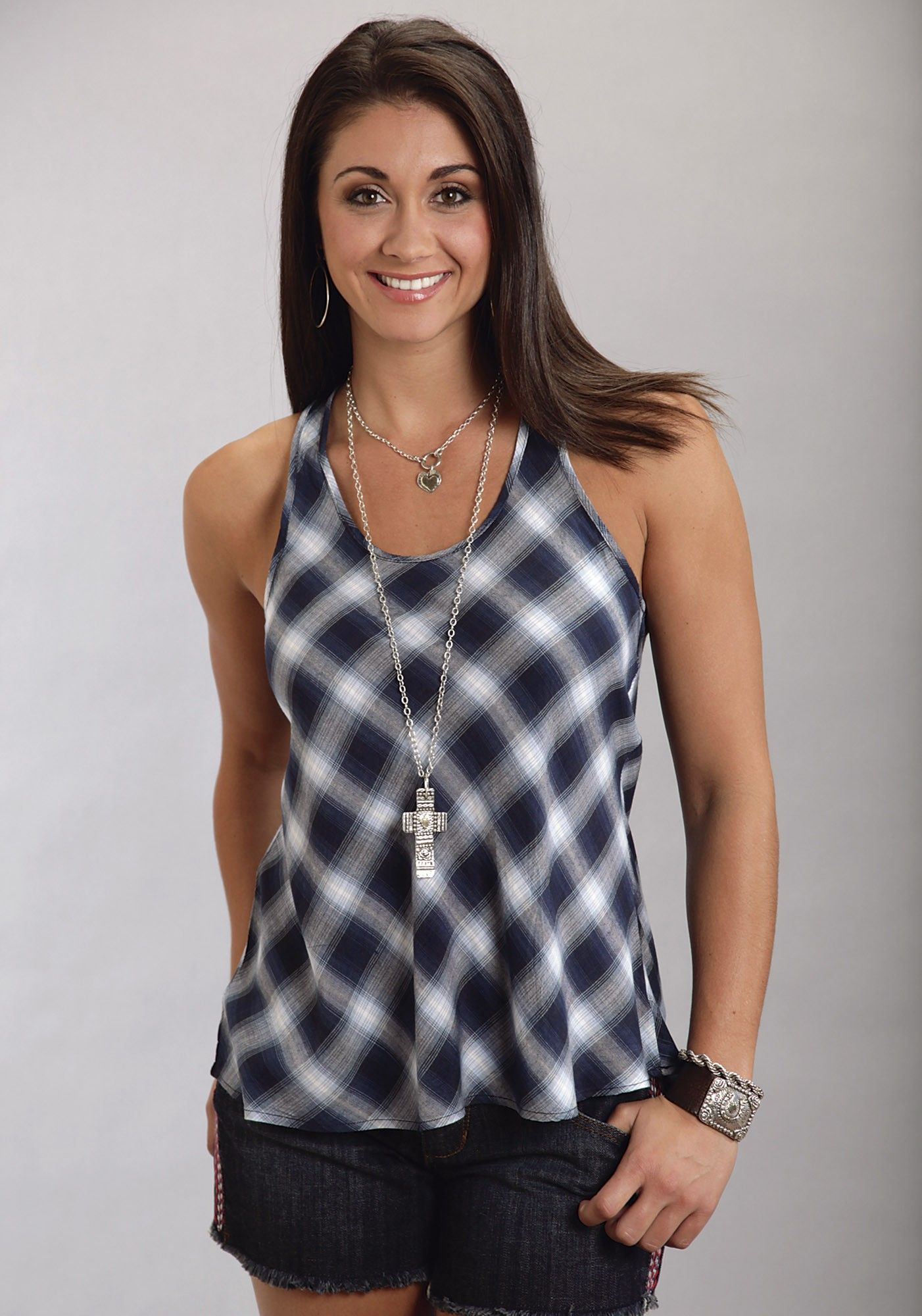 This rayon, indigo Ombre plaid makes for a darling flowy tank with racer back with shirring and a dropped back hem. Description from westernshirts.com. I searched for this on bing.com/images