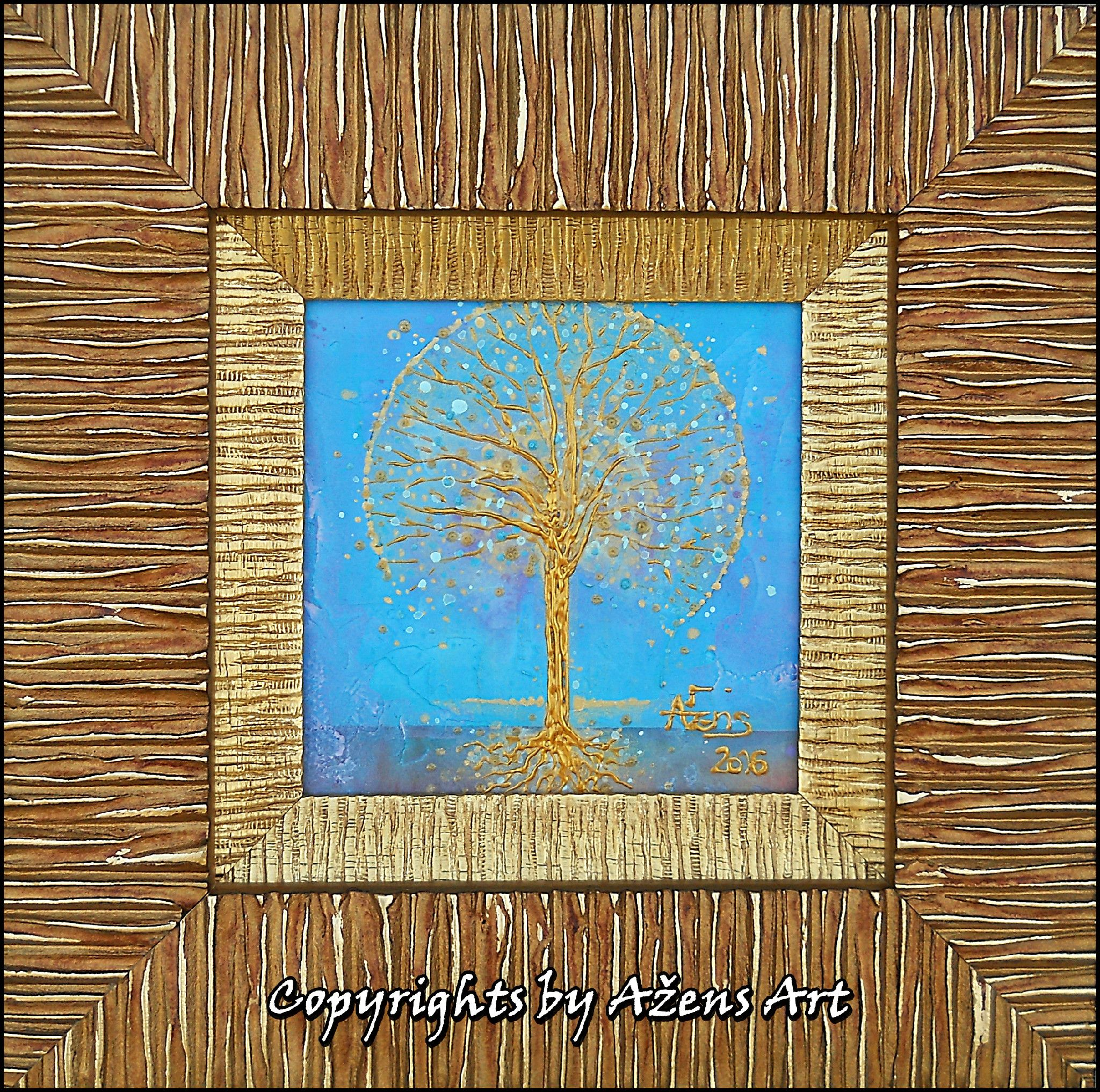 Tree Of Life 36 3d Mixed Media On Canvas 10 X 10 Cm Frame 20 X 20 Cm Mixed Media Canvas Art Painting