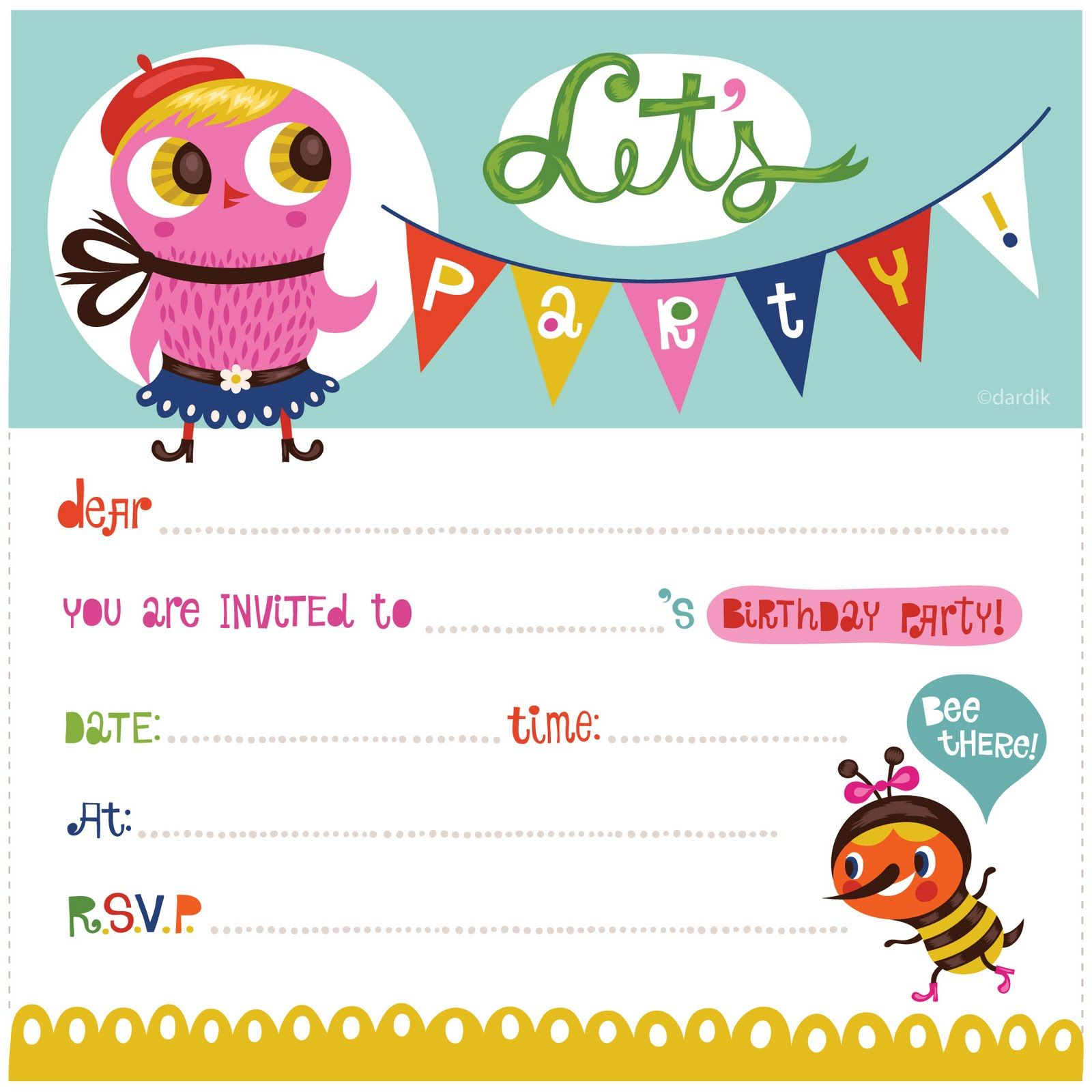 Birthday Party Invitations Printable For Kids Free | invitations ...