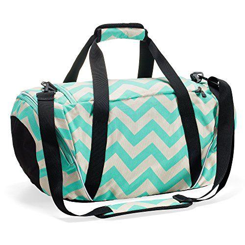 0303df8bb01e Runetz - Extra Large Chevron TEAL Blue Gym Bag Athletic Sport Shoulder Bag  for Men   Women Duffel 30-inch - Chevron TEAL