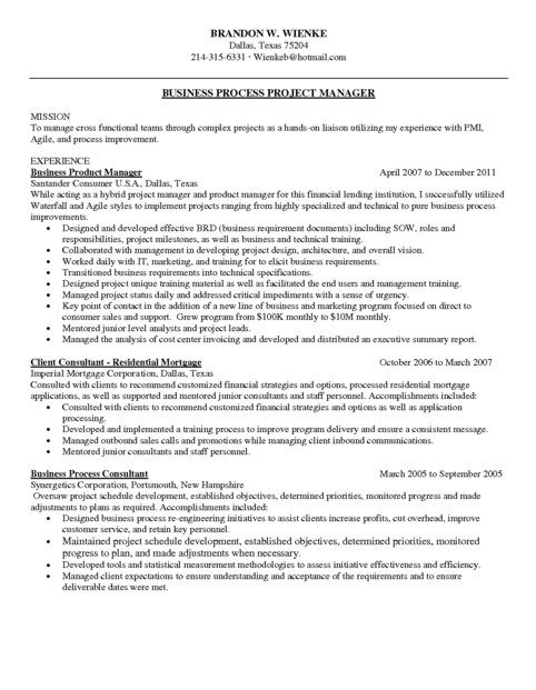 Agile Project Manager Resume Sample Project Manager Resume - business process management resume