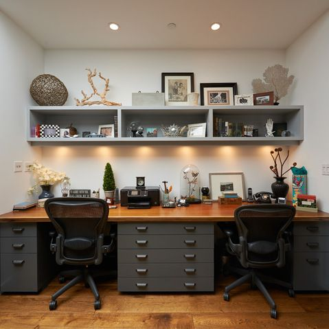 Etonnant Dual Workspace With Lots Of Flat File Storage And Decorative Shelf Above.  Shared Home Offices