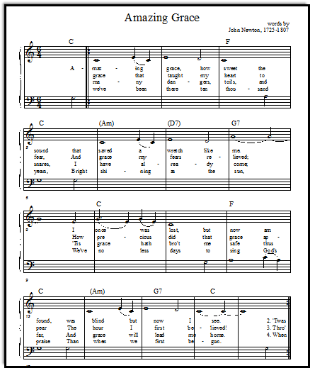 Amazing Grace Piano Sheet Music: Free Music For Teaching Kids. Even Has Different Levels Of
