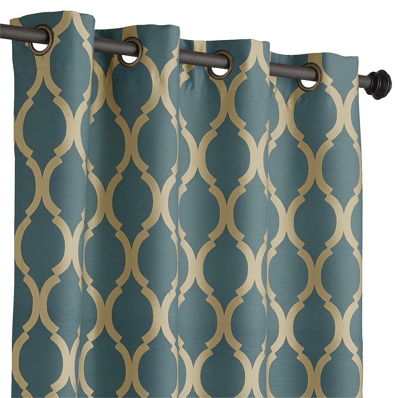 Moroccan tile pattern curtains - Teal 108 Moorish Tile Curtain Teal