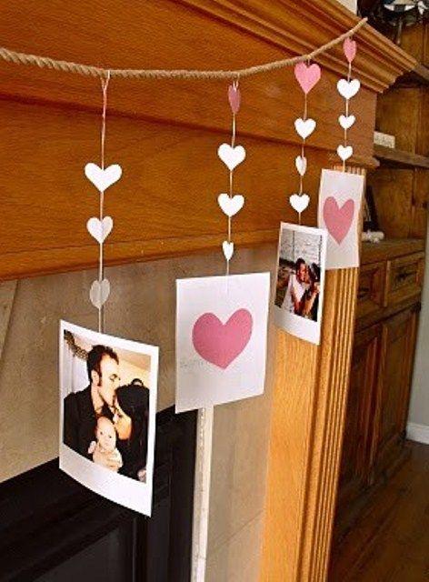 Valentine S Day Mantel Decor With Handmade Garland Valentine S Day Diy Valentines Diy Valentine Decorations