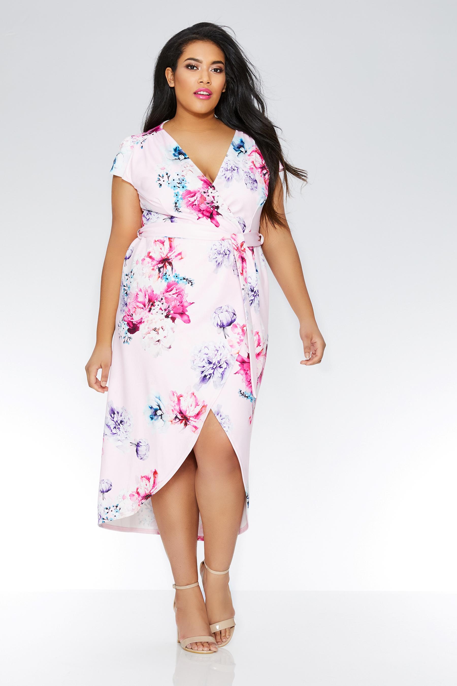 1e21300a9 Womens Quiz Curve Floral Print Wrap Front Dip Hem Dress - Pink Buy Quiz  Curve Floral