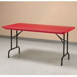 CORRELL Brightly Colored Folding Tables - Red by CORRELL. $299.00. CORRELL Brightly Colored Folding Tables add a spark of color to any decor. Virtually indestructible table top resists damage from practically anything including food, paint, battery acid, and gasoline. Molded from heavy-duty plastic resin, this top will not chip or crack, and if dented, will return to normal within 24 hours. Strong steel frame folds down for easy storage. Choose standard or adjustable-heigh...