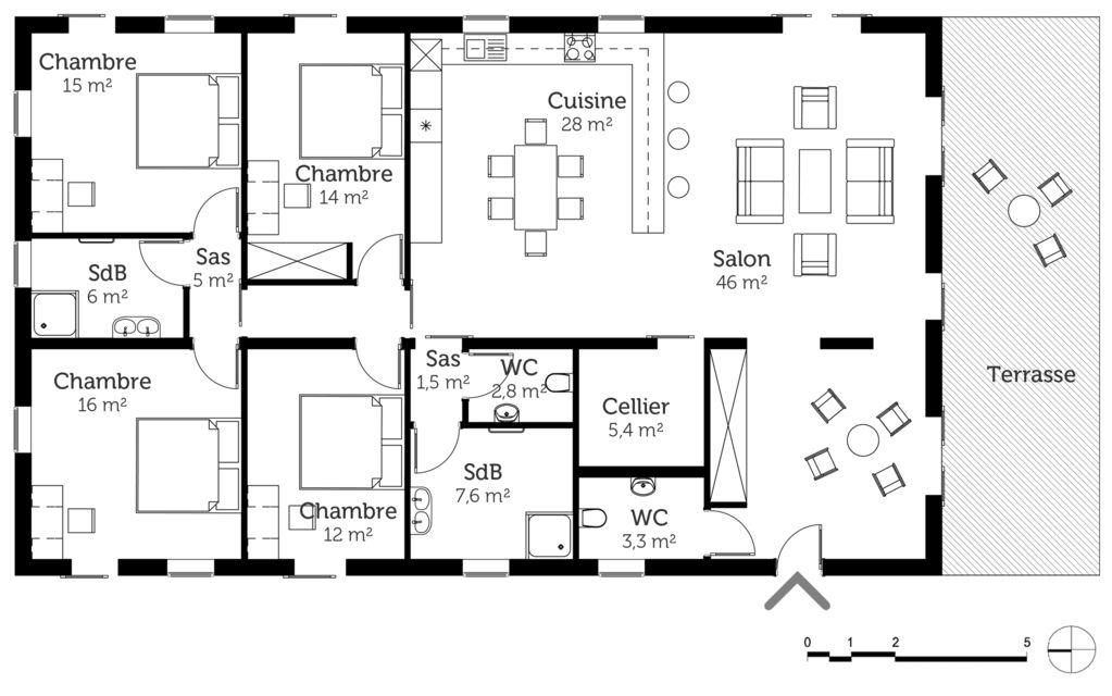 Plan de maison plain pied 100m2 gratuit ventana blog - Plan maison 100m2 plein pied 3 chambres ...
