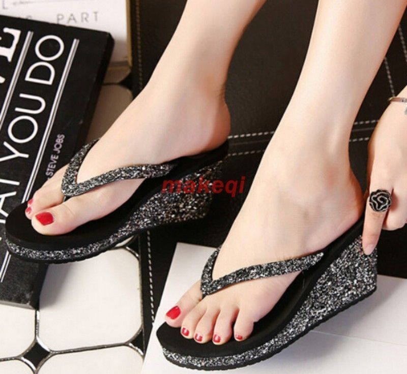 382ed6eb3 2016 Women S Casual Slippers Flip Flops Bling Bling Wedge Heels Thong  Sandals