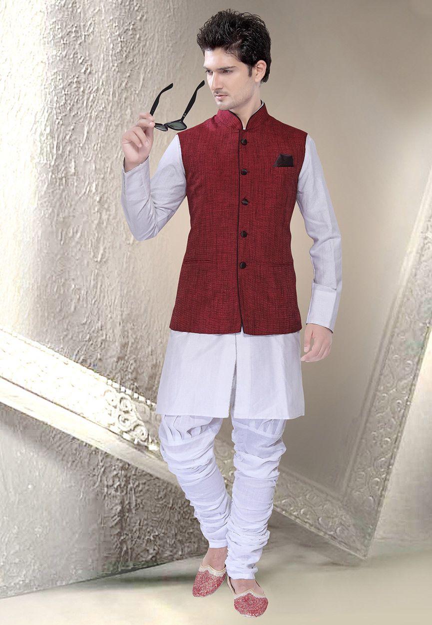 d7bf886704a Maroon Ramie Linen Readymade Nehru Jacket