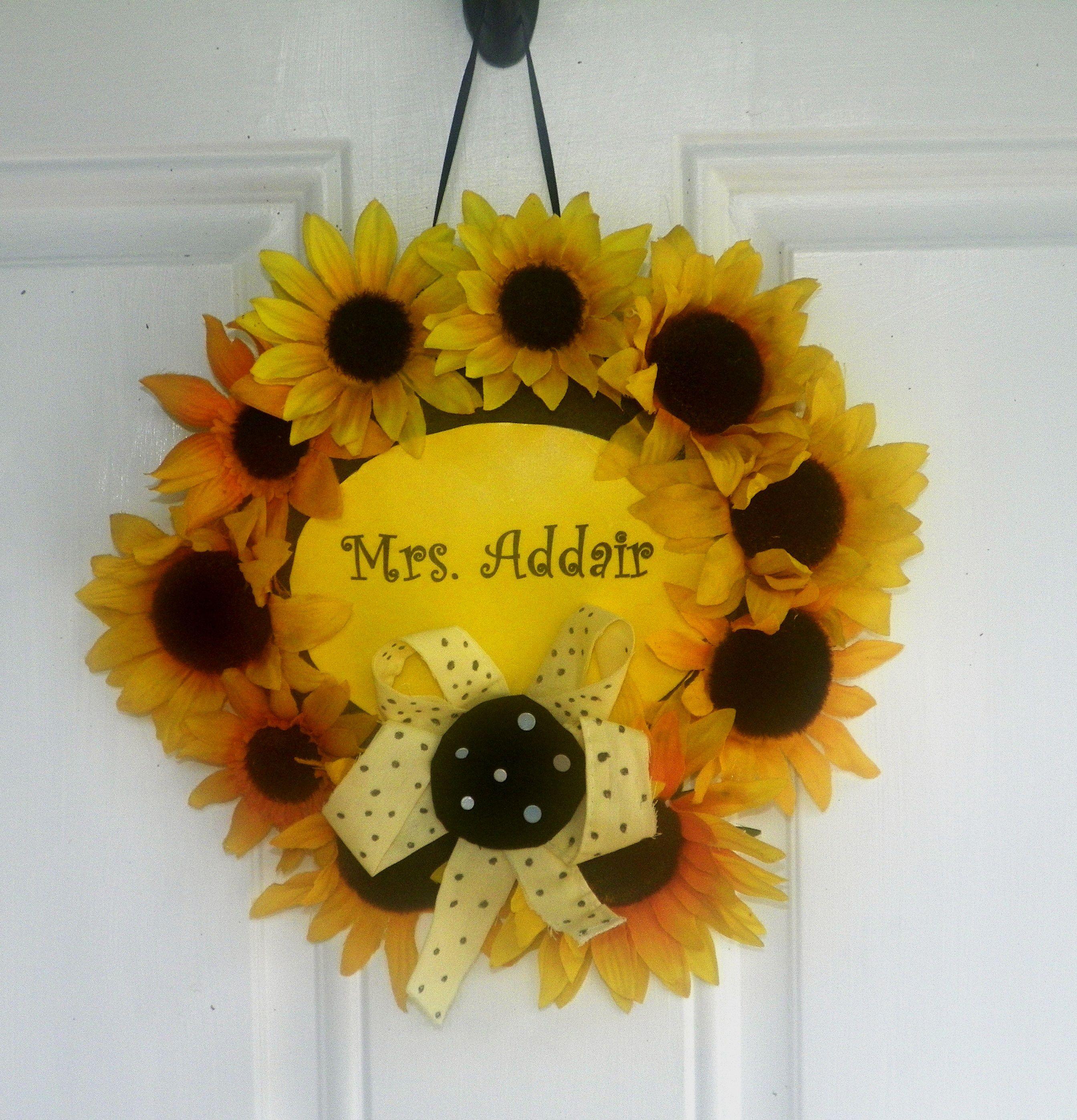 Sunflower Classroom Door Wreath Classroom Wreath