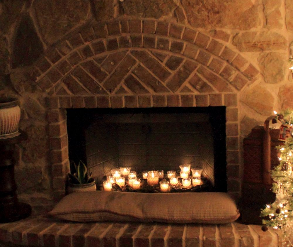 Candles In A Fireplace Pictures: Candles In The Fireplace.