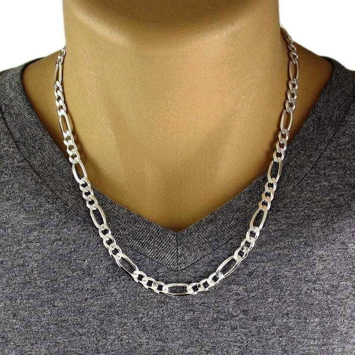 Menu0027s 925 Sterling Silver Figaro Chain Necklace