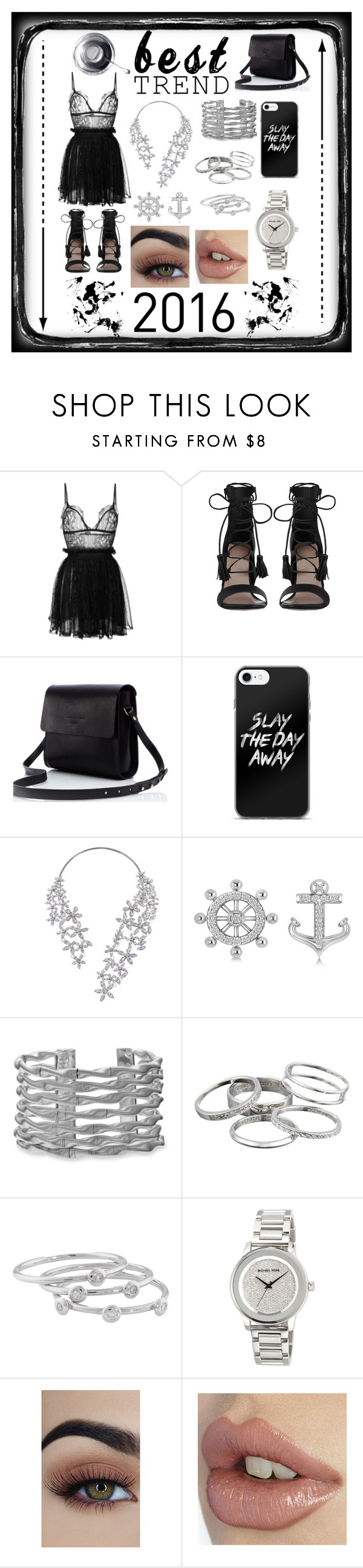 """Goodbye 2016"" by jumainakmir ❤ liked on Polyvore featuring Alexander McQueen, Zimmermann, Allurez, Kendra Scott, London Road, MICHAEL Michael Kors, lace, metallic, minidress and statementnecklaces"