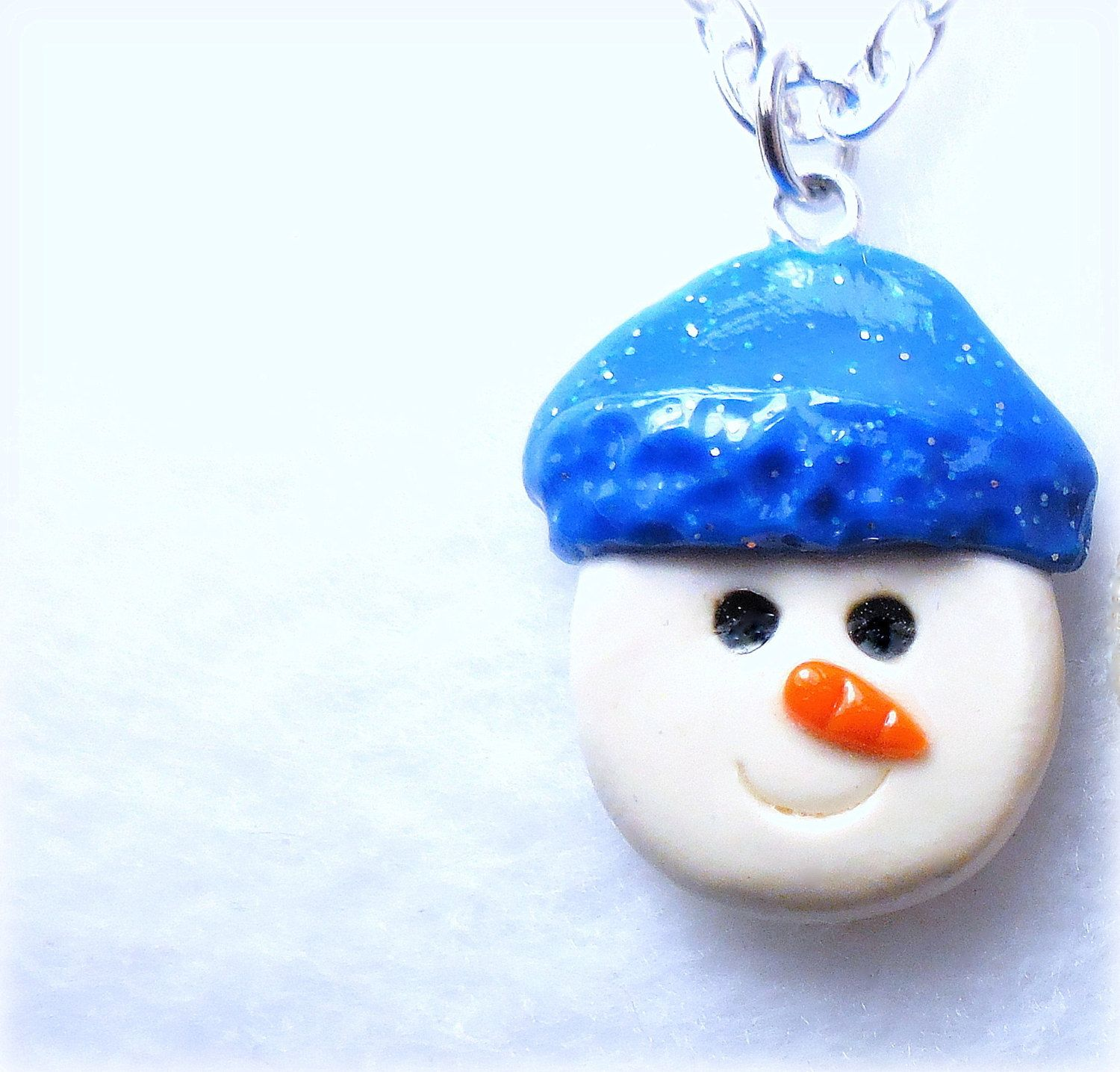 Snowman Charm Necklace, Snowman Jewelry, Snowman pendant, Stocking Stuffer by neiceysclaythings on Etsy