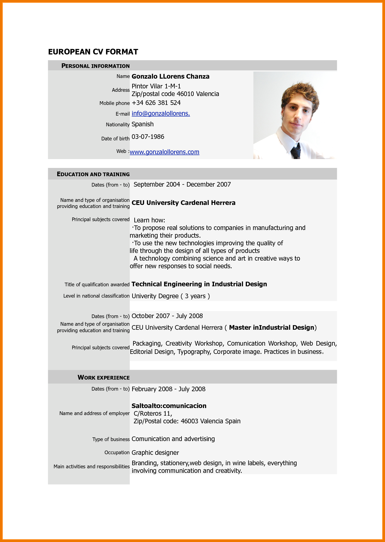 5 Pdf Cv Example English Postal Carrier Deskop Pinterest Cv
