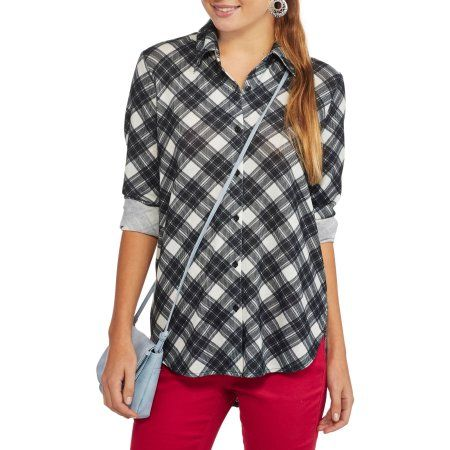No Boundaries Juniors Long Sleeve Plaid Button Down Tunic Top, Size: Small, Multicolor