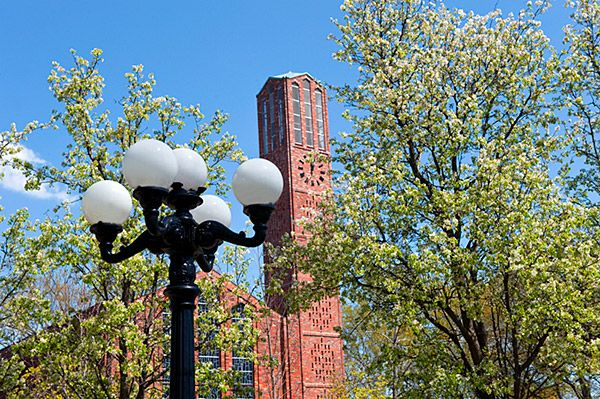 Spring Flowers in front of the Chapel of Memories - Mississippi State University