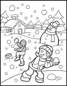 Planse De Colorat Iarna Copii La Joaca Iarnă Desene și Copii