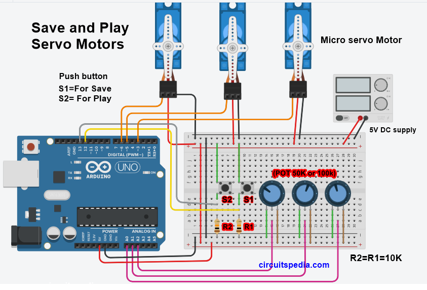 Record And Play Or Save And Play Servo Motor Arduino Uno Arduino Arduino Wifi Arduino Projects