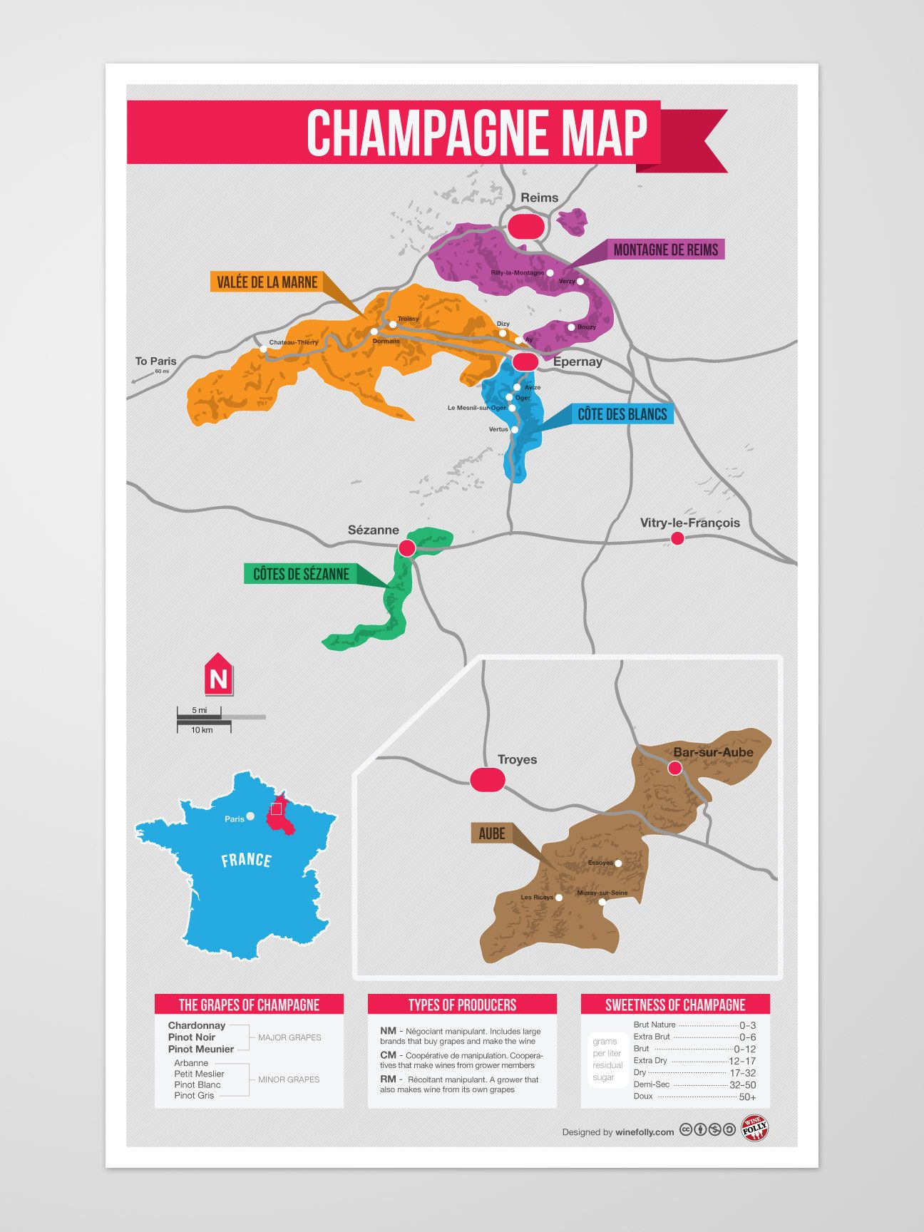 Champagne Region Map on