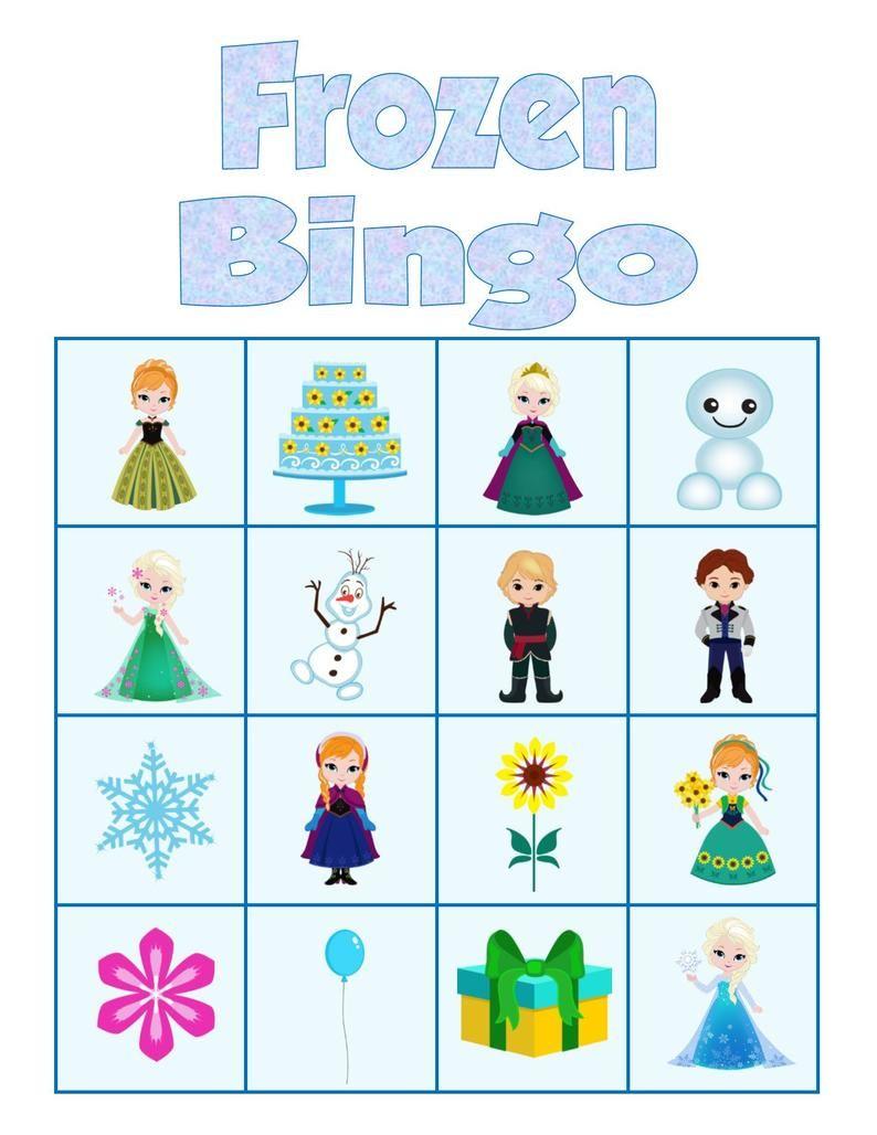 Frozen Bingo Game Instant Download Printable Party Game Etsy Frozen Birthday Party Games Frozen Party Games Frozen Birthday Games