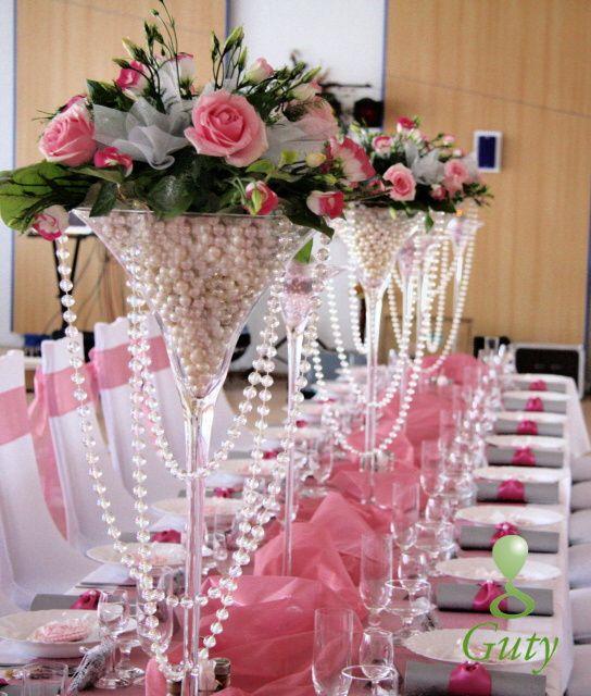 4111e0725 Perličková výzdoba ružová Guty kvety vo vysokých vázach Kytice Na Svadobný  Stôl, Kvetinová Výzdobu,