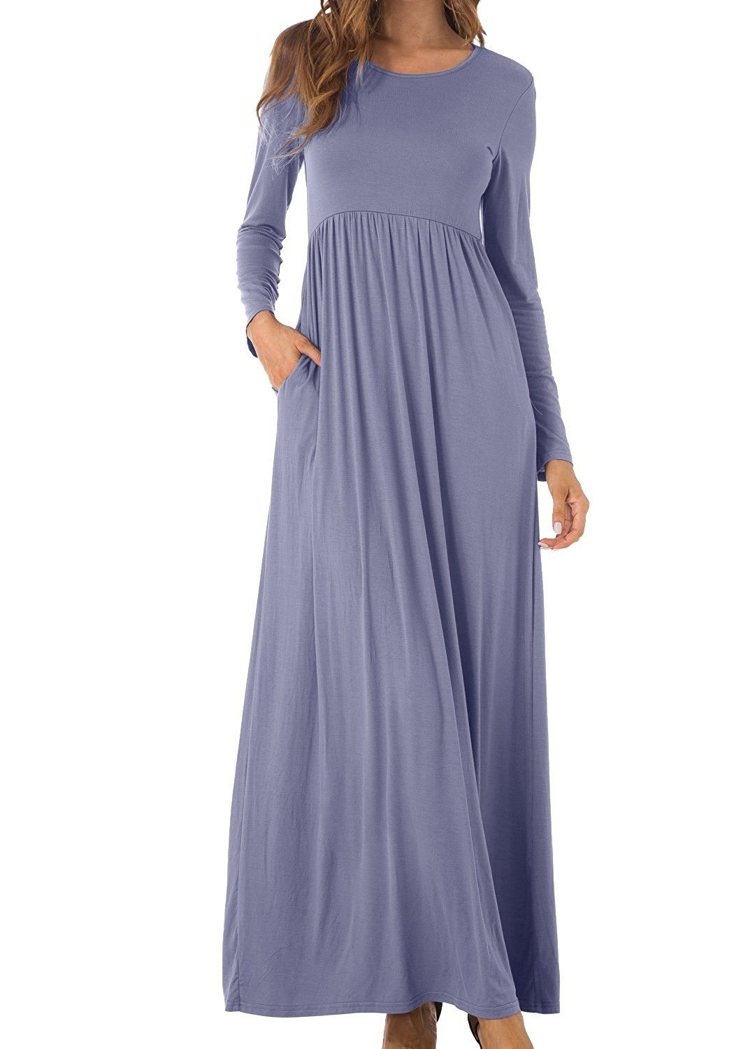 6117a6d233 Simier Fariry Women's Scoop Neck Pockets Pleated Loose Swing Casual Maxi  Dress at Amazon Women's Clothing store: