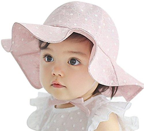 9dd42c23 Baby Toddler Girls Large Brim Sun hat with Chin Strap Cotton UPF 50+ Sun  Protection Bucket Hat Cap for Baby Girls 10-42 months