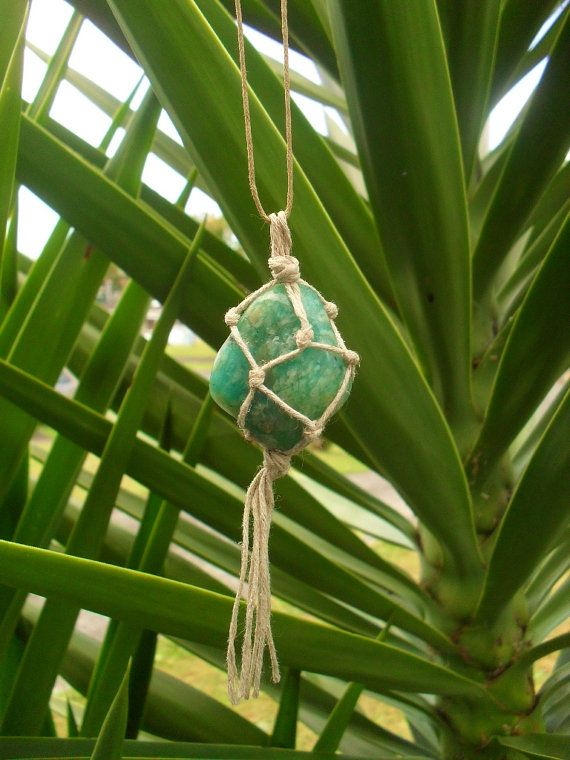 Amazonite Macrame Necklace - Amazonite Pendant - Hippie Necklace - Hemp - Boho - Gypsy